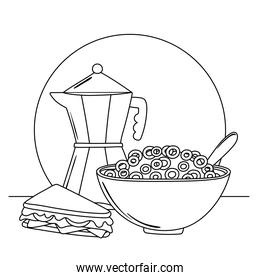 breakfast cereal and sandwich delicious food cartoon line style