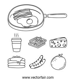 breakfast icons set, fried egg and bacon in saucepan, coffee orange pancakes line style