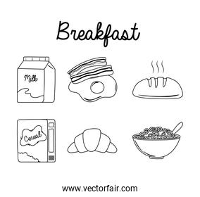 breakfast icons set, milk egg bacon bread cereal milk and croissant line style