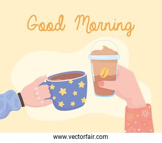 good morning, hands with frappe and coffee cup, fresh hot and cold beverage