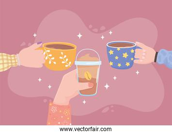 people hands with coffee cup, fresh cold and hot beverage