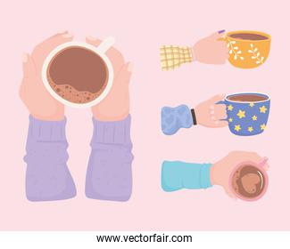 set of hands with coffee cups, fresh hot beverage
