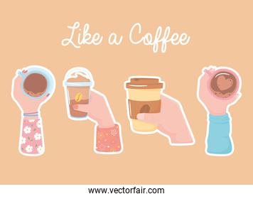 different hands with coffee cups, takeaway and frappe, like a coffee