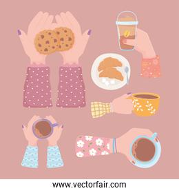 set hands with coffee cup cookie and croissant, fresh beverage