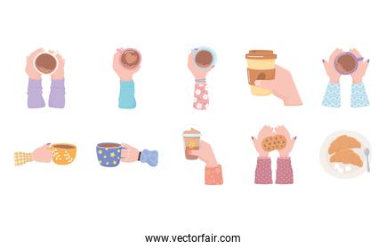 coffee cup in hands, fresh hot beverage cookies croissant breakfast icons set