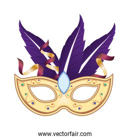 Mardi gras mask with feathers and confetti vector design