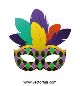 Mardi gras black mask with feathers vector design