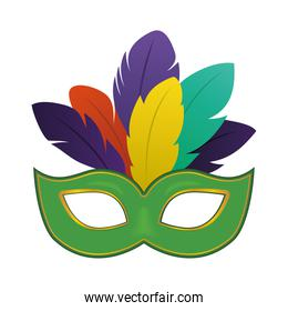 Mardi gras green mask with feathers vector design