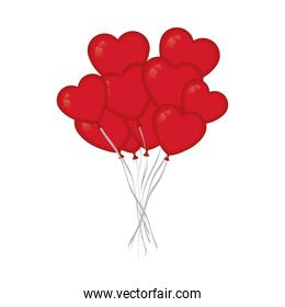 Hearts balloons isolated vector
