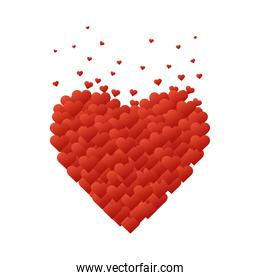 Hearts group isolated vector design