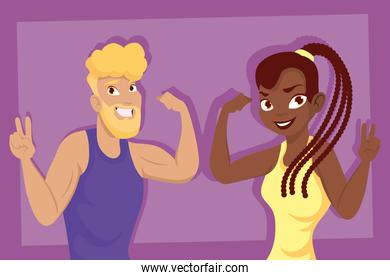 Afro woman and blond man cartoons vector design