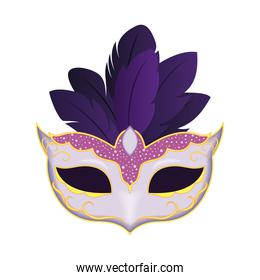 Mardi gras white mask with feathers vector design