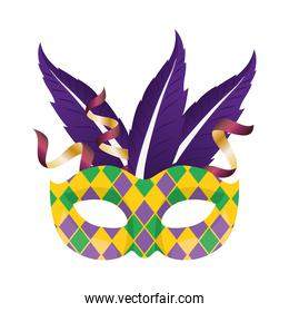 Mardi gras mask with purple feathers vector design