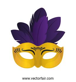 Mardi gras gold mask with feathers vector design