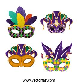 mardi gras masks with feathers icon set vector design