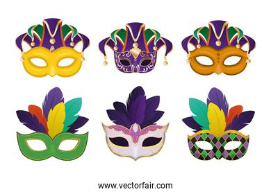 mardi gras masks with feathers icon collection vector design