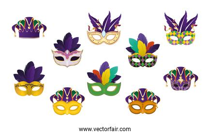 mardi gras masks with feathers set vector design