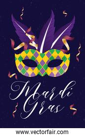 mardi gras yellow mask with feathers and confetti vector design