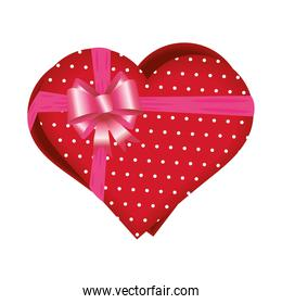 Heart gift box with bow vector design