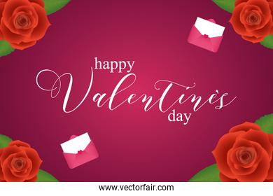 Happy valentines day with roses and cards vector design
