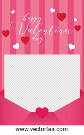 Happy valentines day envelope with hearts balloons vector design
