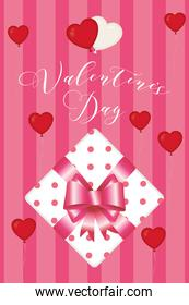 Happy valentines day gift with hearts balloons vector design