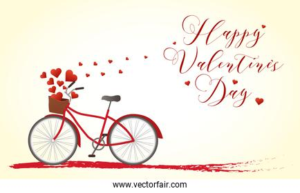 Happy valentines day bike with hearts vector design