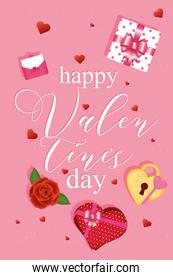 Happy valentines day card with icons vector design