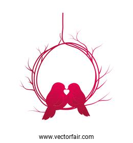 Birds kissing isolated vector design