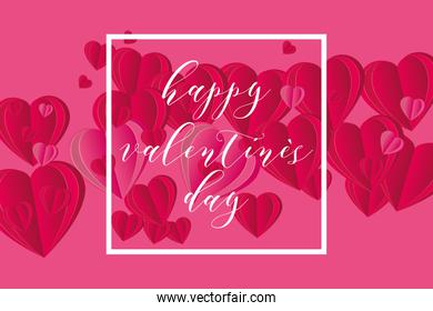 Happy valentines day in frame with hearts vector design