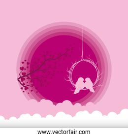 Birds kissing with branch and clouds vector design