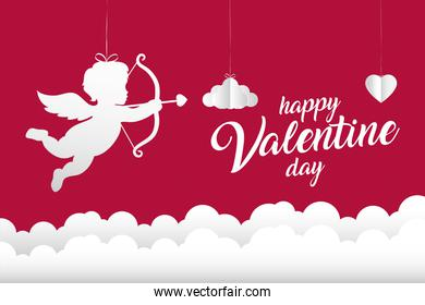 Happy valentines day cupid with clouds vector design