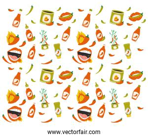 Hot chili pepper sauces icons background vector design