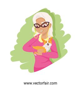 Woman with dog mascot vector design