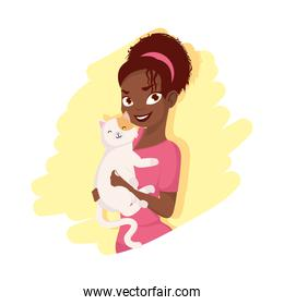 Afro woman with cat mascot vector design