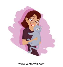 Woman with gray cat mascot vector design