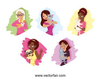 Women with dogs and cats mascots set vector design