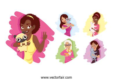 Women with dogs and cats mascots icon set vector design