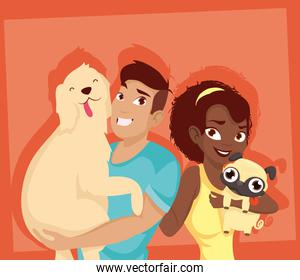 Woman and man with dogs mascots vector design