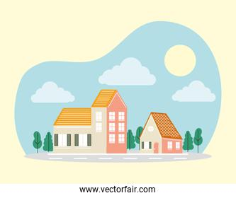 houses with trees in front of road vector design