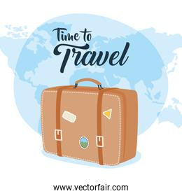 Time to travel bag with stickers and world vector design