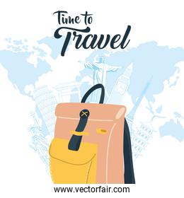 Time to travel with bag landmarks and world vector design