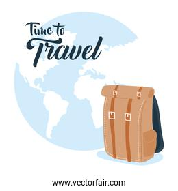 Time to travel with bag and earth world vector design