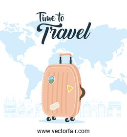Time to travel with bag and world map vector design