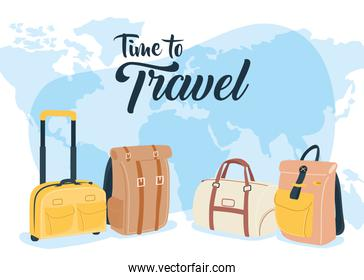 Time to travel with bags and world vector design