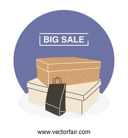 Big sale with shopping boxes and bag vector design