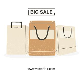 Big sale with shopping bags vector design