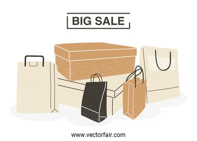 Big sale with shopping bags and boxes vector design