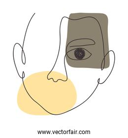 icon of hand drawn modern abstract male face, colorful design