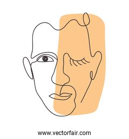 hand drawn modern abstract face, colorful design
